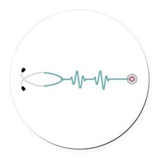 Stethescope Heart Rate Monitor Round Car Magnet