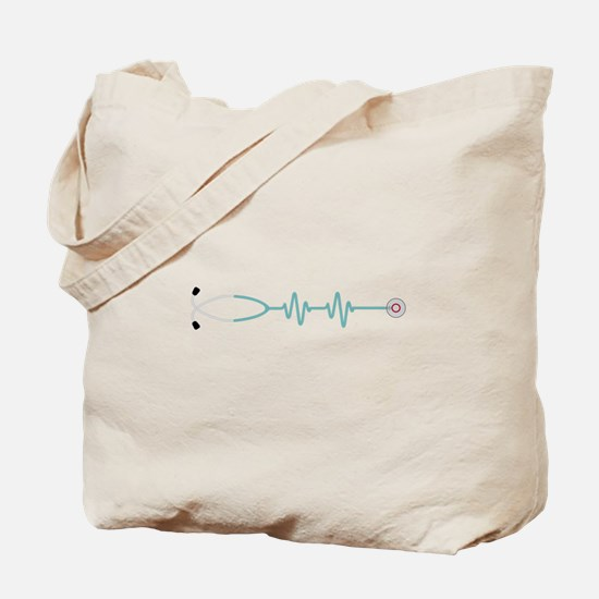 Stethescope Heart Rate Monitor Tote Bag