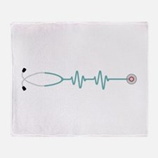 Stethescope Heart Rate Monitor Throw Blanket