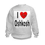 I Love Oshkosh (Front) Kids Sweatshirt