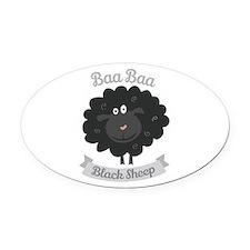 Baa Black Sheep Oval Car Magnet