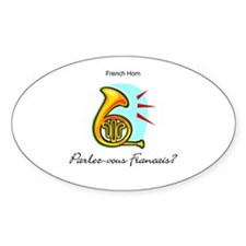 French Horn French Language Oval Decal