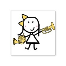 """Cute French horn Square Sticker 3"""" x 3"""""""