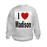 I Love Madison (Front) Kids Sweatshirt
