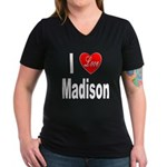 I Love Madison (Front) Women's V-Neck Dark T-Shirt