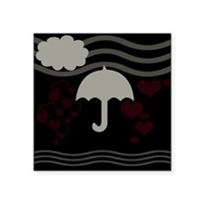Grey Umbrella Hearts Love Sea Pool Party Sticker