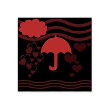 Red Umbrella Hearts Sticker