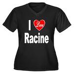 I Love Racine (Front) Women's Plus Size V-Neck Dar