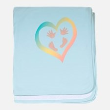 Baby Hands and Feet in Heart baby blanket