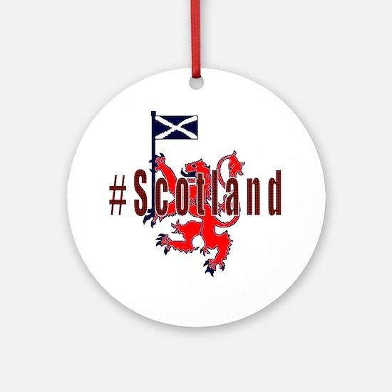Hashtag Scotland red tartan Ornament (Round)