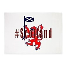 Hashtag Scotland red tartan 5'x7'Area Rug
