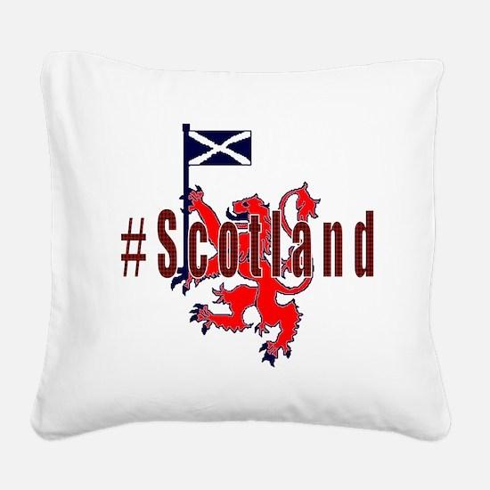 Hashtag Scotland red tartan Square Canvas Pillow