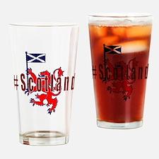 Hashtag Scotland red tartan Drinking Glass