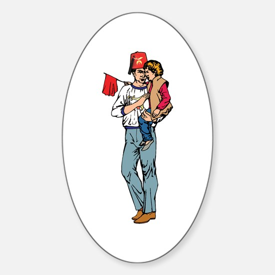 Shriner and Child Oval Decal
