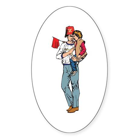 Shriner and Child Oval Sticker