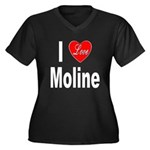I Love Moline (Front) Women's Plus Size V-Neck Dar