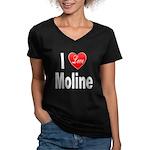 I Love Moline (Front) Women's V-Neck Dark T-Shirt