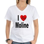 I Love Moline (Front) Women's V-Neck T-Shirt