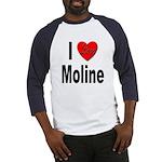 I Love Moline (Front) Baseball Jersey