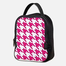 Houndstooth Pink Checks Neoprene Lunch Bag