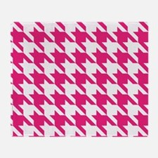 Houndstooth Pink Checks Throw Blanket