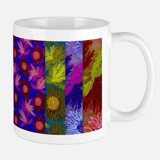 Color Collage of Layered Floral Fabrics Mugs