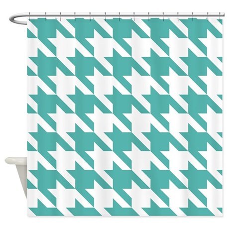Houndstooth Teal Checks Shower Curtain