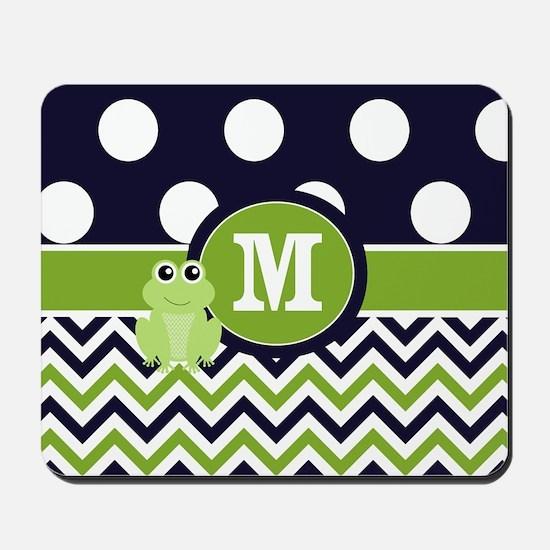 Navy Green Frog Monogram Mousepad