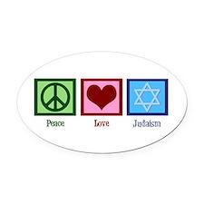 Peace Love Judaism Oval Car Magnet