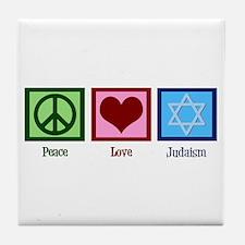 Peace Love Judaism Tile Coaster