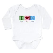 Peace Love Judaism Long Sleeve Infant Bodysuit