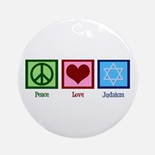 Peace Love Judaism Ornament (Round)
