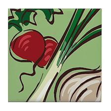 Radish and Onions Tile Coaster