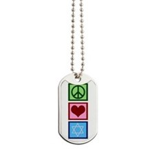Peace Love Judaism Dog Tags