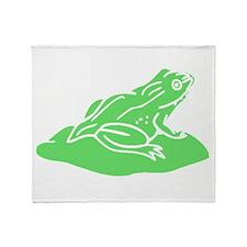 Green Frog On Lilypad Throw Blanket