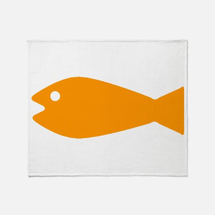 Orange Goldfish Throw Blanket