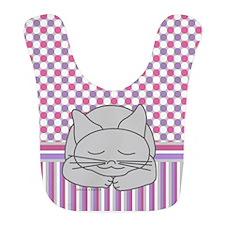 Sleeping Gray Cat Pink Pattern Bib