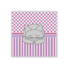 "Sleeping Gray Cat Pink Patt Square Sticker 3"" x 3"""