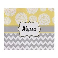 Gray Yellow Blooms Personalized Throw Blanket