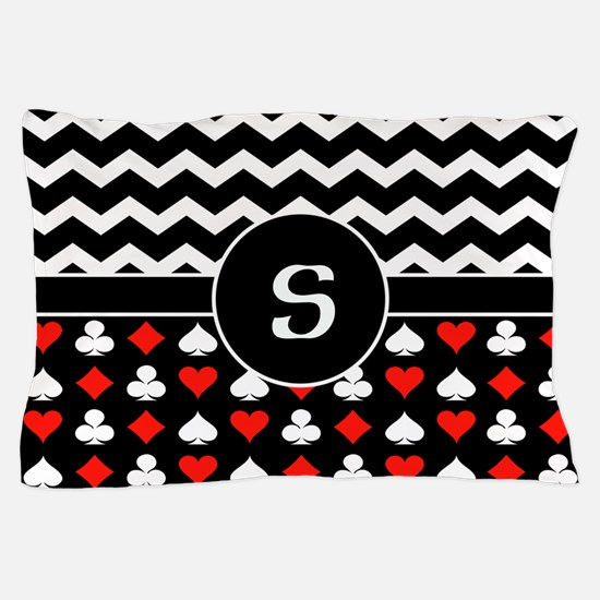 Chevron Poker Custom Monogram Pillow Case