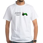 Green Christmas Tractor White T-Shirt