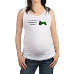 Green Christmas Tractor Maternity Tank Top