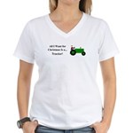 Green Christmas Tractor Women's V-Neck T-Shirt