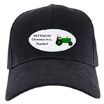 Green Christmas Tractor Black Cap