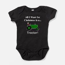Green Christmas Tractor Baby Bodysuit