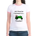 Green Christmas Tractor Jr. Ringer T-Shirt