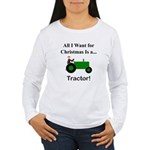 Green Christmas Tracto Women's Long Sleeve T-Shirt