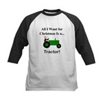 Green Christmas Tractor Kids Baseball Jersey