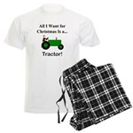 Green Christmas Tractor Men's Light Pajamas