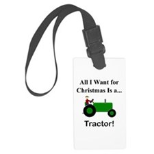 Green Christmas Tractor Luggage Tag